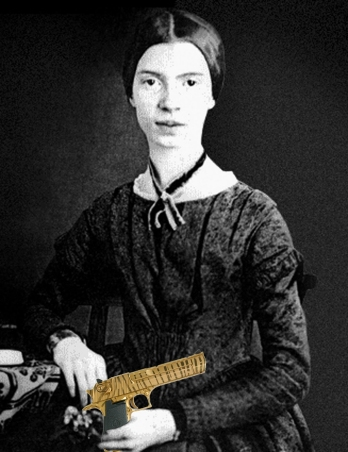 Emily Dickinson with gun